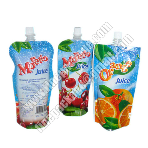 beverage packaging bags with spout, plastic liquid milk spout bags, energy drink juice packaging material 2