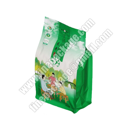 tea block bottom pouch, 8-side sealed flat pocket, block bottom opp bags, block bottom food packaging bags