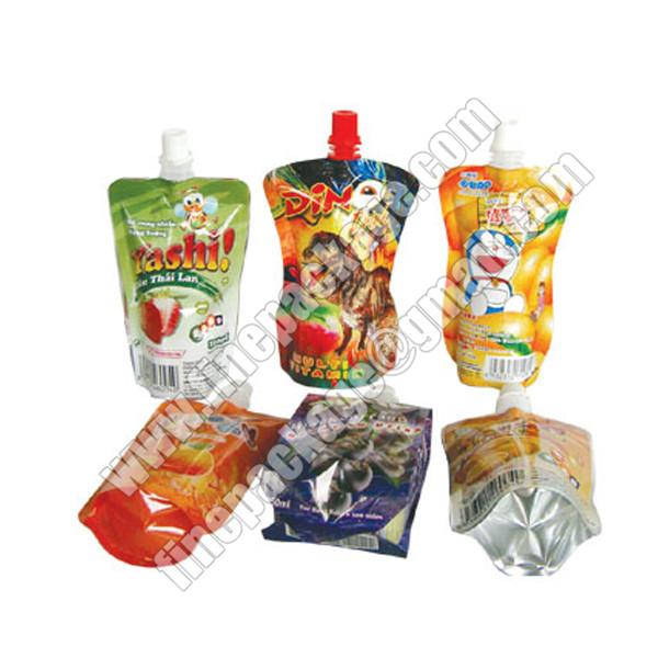 juice packaging bags, juice drink spout pouch bag, liquid packaging plastic bag with spout