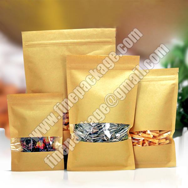 kraft paper mylar bags with ziplock, kraft paper ziplock bags for food, resealable zipper kraft paper food packaging bags