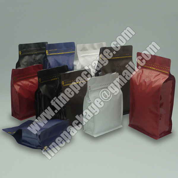 block bottom coffee pouch with valve, block bottom valve bags, 8 side seal block bottom bag2