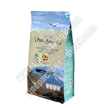 customized block bottom plastic pet treats packaging pouch, block bottom pet food bag
