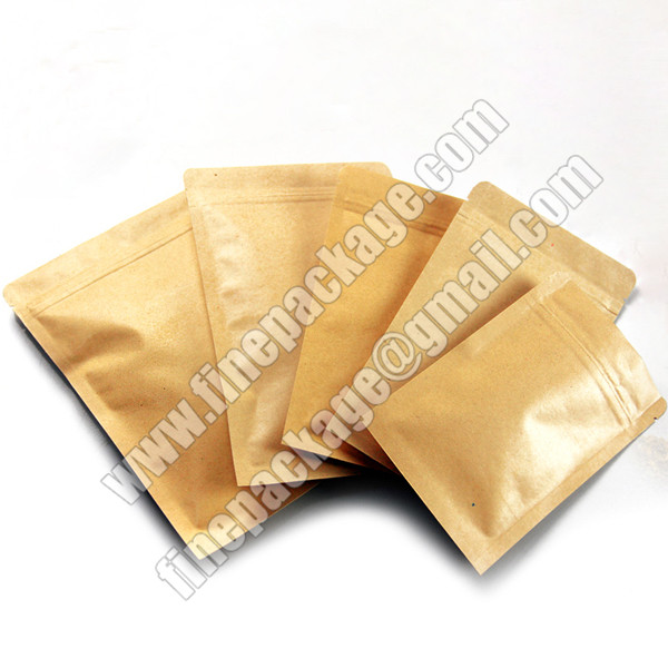 kraft paper mylar bags with ziplock, kraft paper ziplock bags for food, resealable zipper kraft paper food packaging bags1