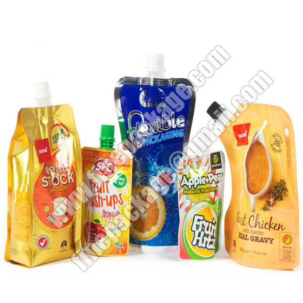 liquid stand up pouch with spout, drink spout bag, drink spout pouches