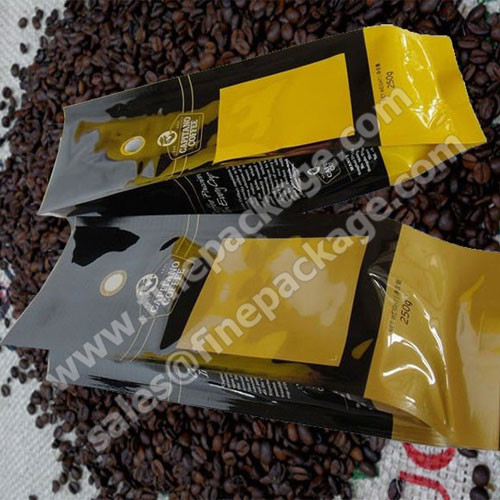 Printed aluminium foil coffee packaging bags with valve
