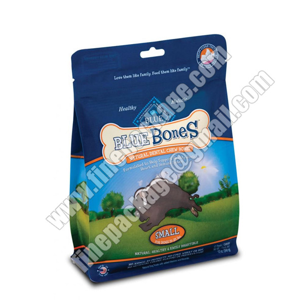 customized block bottom plastic pet treats packaging pouch, block bottom pet food bag1