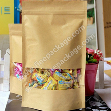 snack and candy craft paper packaging bags, ziplock stand up bags with window