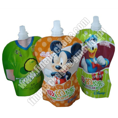 beverage packaging bags with spout, plastic liquid milk spout bags, energy drink juice packaging material