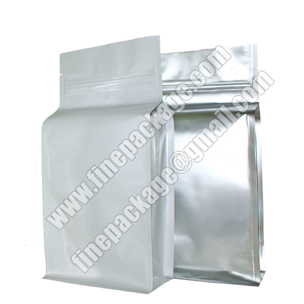 aluminium foiled block bottom pouch, foiled square bottom bags for food, side gusset block bottom food packaging pouch