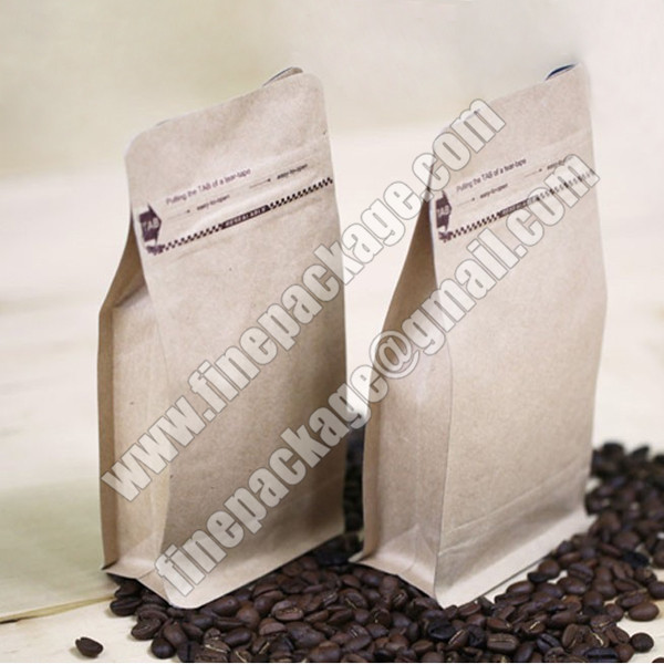 block bottom coffee pouch with valve, block bottom valve bags, 8 side seal block bottom bag