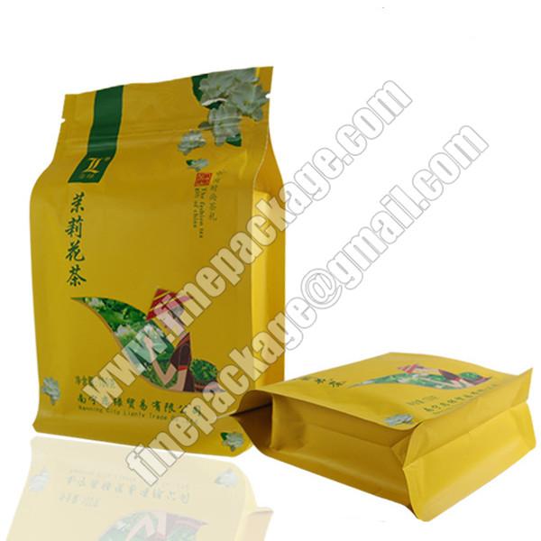 tea block bottom pouch, 8-side sealed flat pocket, block bottom opp bags, block bottom food packaging bags2
