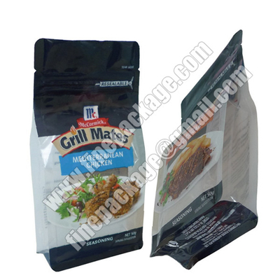 square bottom plastic 8 side seal bag,plastic bags with block bottom, block bottom side gusset bag
