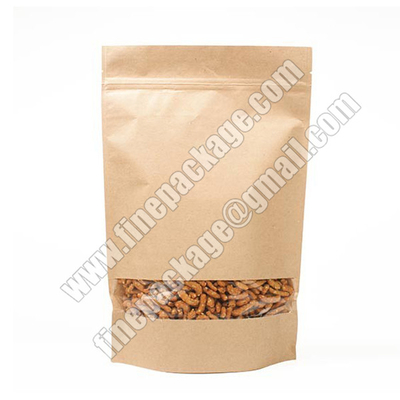 kraft paper stand up pouches, ziplock stand up kraft paper bag, chia seed stand up pouch