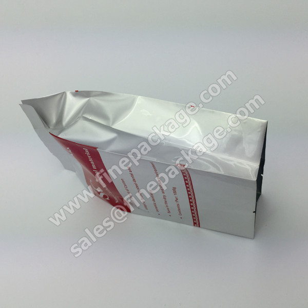 Ground coffee bean aluminium foil packaging bags with valve