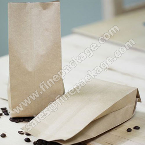 craft paper side gusset coffee bean packaging bags with valve